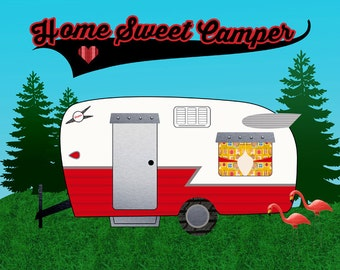 Home Sweet Camper. Instant download Printable Vintage Travel Trailer Art Print. Mid Century Camping Glamping. 8x10. DIY