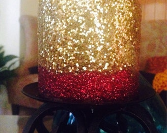 Red & Gold glitter pillar candle - Unscented (3 in pack)
