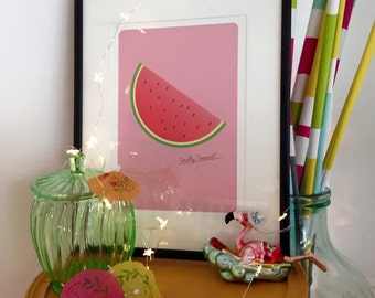 Watermelon - A tropical print - illustrated by Ailsa Ash - Sunshine Design