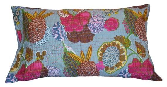 standard size floral print kantha pillow sham by printsntrims. Black Bedroom Furniture Sets. Home Design Ideas