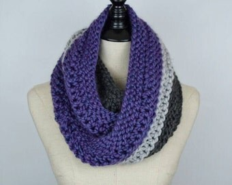Long Knit Scarf, Chunky Infinity Scarf in Purple and Gray, Wrap Cowl Scarf for Women, Knit Circle Scarf