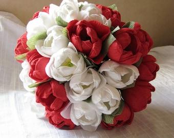 Red and white paper tulips/ Wedding bouquet/ Paper flower/ Centerpiece table decor/ Bridal bouquet/ Bridesmaid/ Bridal shower/ White flower