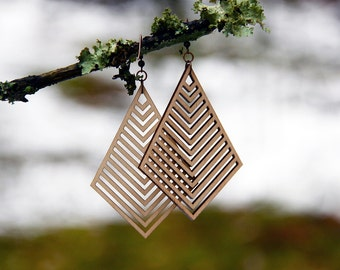 Geometric Laser Cut Wood Earrings