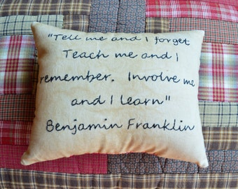 Hand-stitched pillows for that special teacher