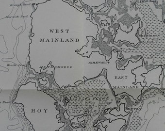 1920 Bathymetrical Map of the Orkney Islands: Hoy, East and West Mainland, Rousay, Eday, Westray, Sanday, North Ronaldsay . Antique Original