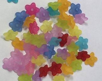 Frosted Lucite Flower Beads, 10 mm x 4 mm (LF-3), 80 count