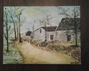 Painting of the Yellow Road.  A village on the edge of town.