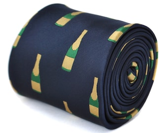 navy tie with champagne bottle design by Frederick Thomas FT1875