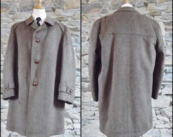 Mans brown wool long coat over coat jacket Steinbock warm winter mans coat jacket size medium