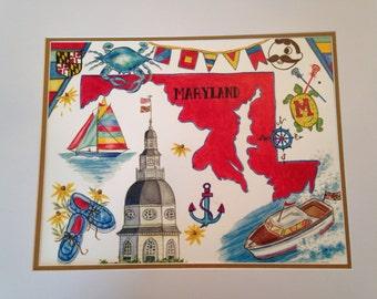 Maryland Print includes, Crab,Natty Boh, Terp, Lacrosse Sticks, Sailboats