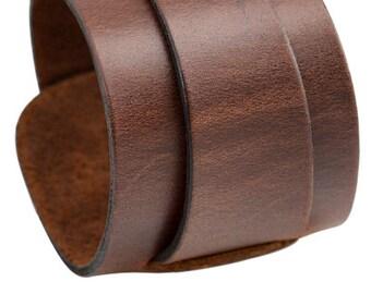 Brown loop leather cuff bracelet handmade double layer leather cuff bracelet, wide cuff blank bracelet brown wristbant that changes width