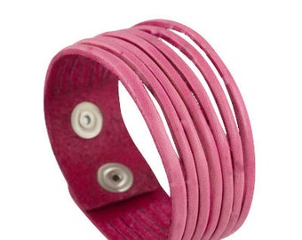 Pink leather cuff bracelet for her, multi-strand bright pink leather bracelet made of narrow strips of leather, multi-strand leather cuff