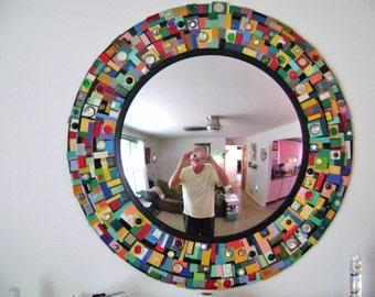mixed media wall mirror