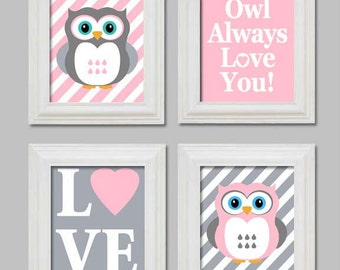 Owl Nursery - Baby girl nursery - Pink and Gray - Nursery Prints - Nursery Wall Decor - Owl always love you