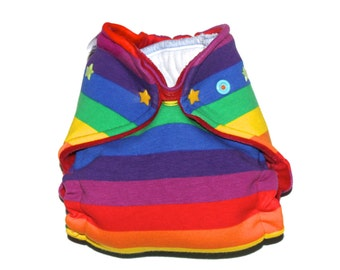 Newborn Hybrid Fitted or AI2 Cloth Diaper - Rainbow Stripes