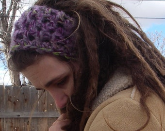 FREE SHIPPING Hand Crocheted Wool Boucle Green Purple White Headband Dreadband