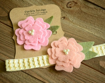 Small Felt Flower with Pearls Clip-Headband-Infant-Baby-Girl- Color Options
