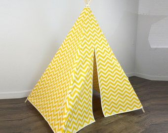 Kids Play Teepee Tent in Yellow and Natural Beige Chevron Zig Zag Tipi print