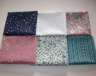 6 fat quarters vintage fabric blue, mauve, beige,teal, tiny floral