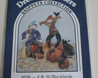 "Dream Spinners #508- 4 and 20 Blackbirds pattern 27"" doll, blackbird, and pumpkins,vintage"