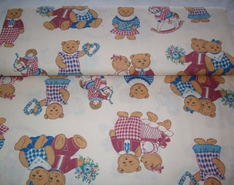 Springmaid Cozy Cafe,vintage fabric,teddy bears in pink and blue outfits , dolls on rocking horses, by yard,baby,child