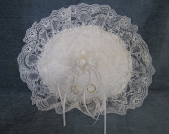 "Wedding ring pillow, white lace over satin,patch work,,oval12""x14"""