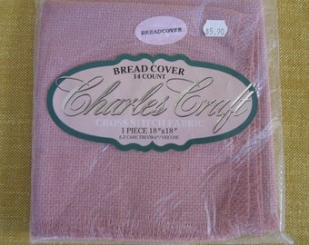 "Charles craft bread cover  14 ct. ,18""x18"",mauve, cross stitch fabric,fringed,trivera/viscose"