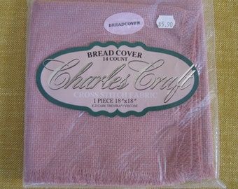 "Charles craft bread cover  14 ct. ,18""x18"",mauve, cross stitch fabric,fringed,trivera/viscose"