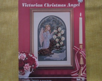 Victorian Christmas Angel, cross stitch pattern booklet, deer,tree