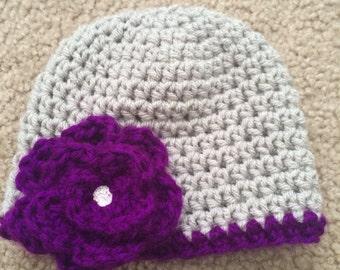 Grey and violet crochet hat