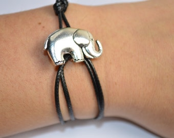 Silver and Black Elephant Bracelet