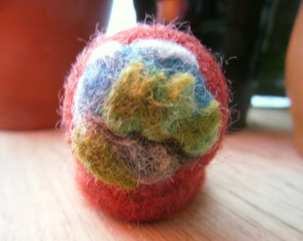 Blue Sky, Green Earth Needle Felted Ring