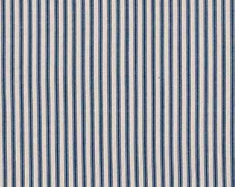 Navy Woven Ticking Fabric 2  3/4 Yards