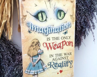 Alice in Wonderland Decoration Cheshire Cat Hanging Wooden Plaque Decoration Imagination quote