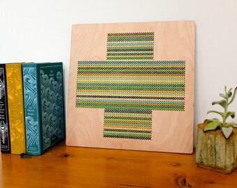 "Modern Geometric Cross Stitch, Laser Cut Birch Wall Hanging, 12"" x 12"", Cross Pattern, Greens and Golds"