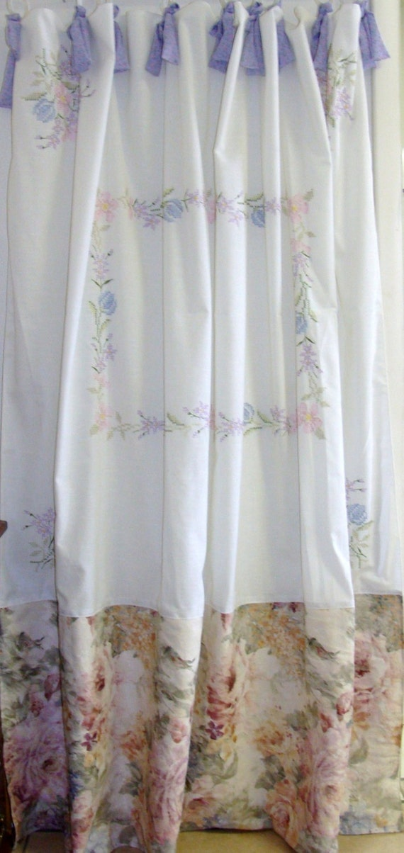 Shabby Chic Shower Curtain Vintage Embroidery By