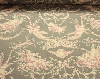 Fabric pure cotton rib grey Toile de Jouy l'amour lilac 280 cm wide amourousness