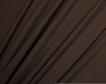Fabric rayon polyester twill chocolate brown crease-resistant flowing soft