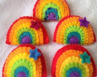 Hand made+ hand stitched felt rainbow badge