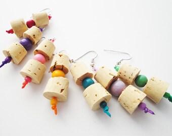 Cork Jewelry - Wine Cork Earrings - Ecofriendly Jewelry - Boho Earrings - Lightweight Earrings - Cork Earrings - Ecofriendly Fashion - Cork