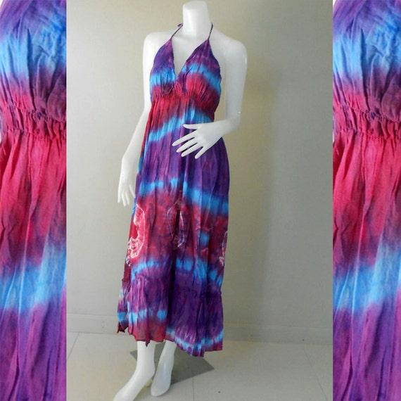Hippie Gypsy Tie Dye Cotton Women dress,Long Summer Halter Back Smock Maxi Dress (DMSS 352)