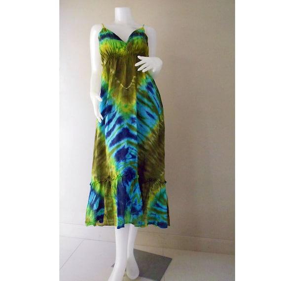 boho hippie tie dye cotton summer dress halter back