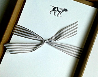 Letterpress Notecards, Dog design -  set of 12 supplied with envelopes