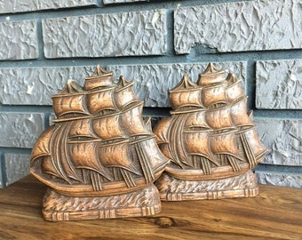 Vintage Syroco Wood? Sailing Ships Bookends Book Ends FREE USA SHIPPING