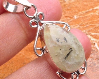 Natural Prehnite silver plated  pendant  ( #J552)