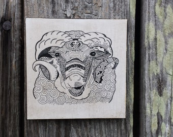 Shetland Sheep Hand drawn plaque (5X5)