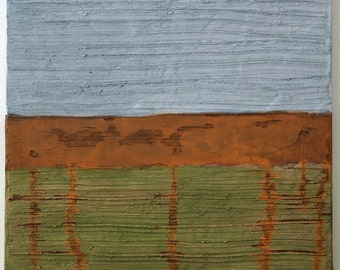 Small Abstract Acrylic Painting Textured Painting Modern Art Contemporary Art Grey Painting Rust Painting Green Painting Color Field Decay