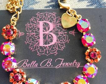 Bella B Swarovski Crystal Fuchsia AB Flower bracelet