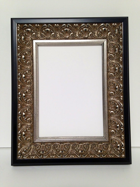 silver black ornate picture frame 3x5 4x6 5x7 8x10 11x14 16x20 18x24 custom sizes. Black Bedroom Furniture Sets. Home Design Ideas