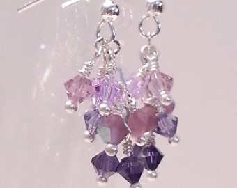 Shades of Purple Crystal Cascade Earrings